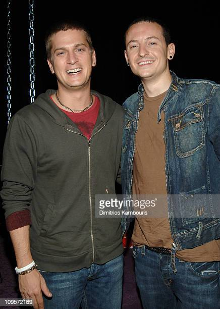 Rob Thomas with Chester Bennington of Linkin Park during LIVE 8 Philadelphia Will Smith Celebrates LIVE 8 With a PreLaunch Party at 23rd Street...