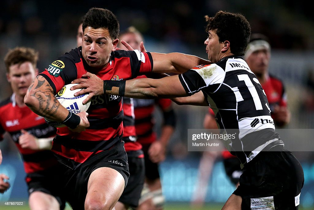 Rob Thompson of Canterbury makes a break during the round five ITM Cup match between Canterbury and Hawkes Bay at AMI Stadium on September 12, 2015 in Christchurch, New Zealand.