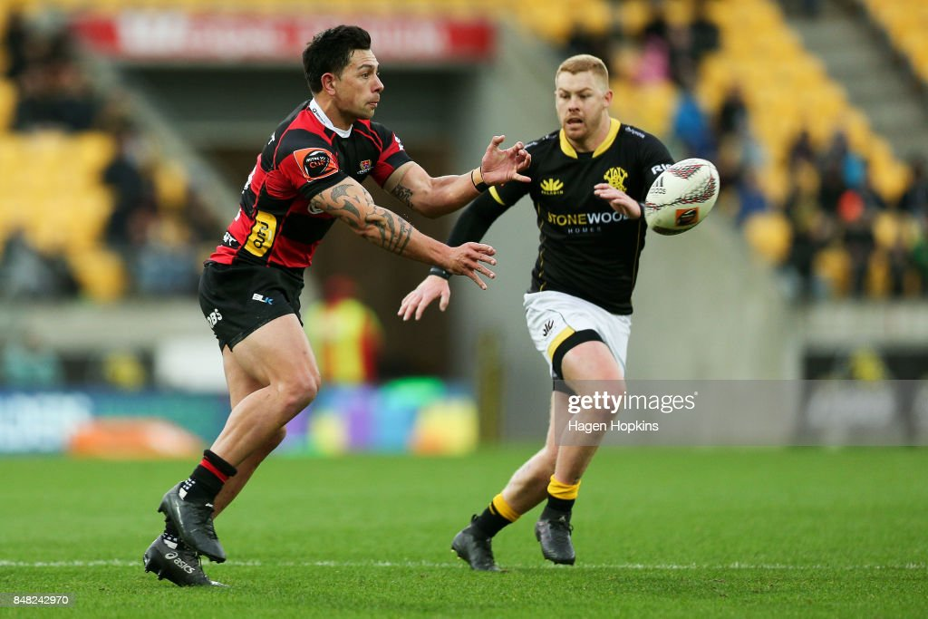 Rob Thompson of Canterbury passes during the round five Mitre 10 Cup match between Wellington and Canterbury at Westpac Stadium on September 17, 2017 in Wellington, New Zealand.