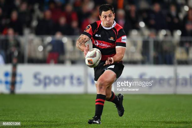 Rob Thompson of Canterbury passes the ball during the round eight Mitre 10 Cup match between Canterbury and Taranaki at AMI Stadium on October 6 2017...