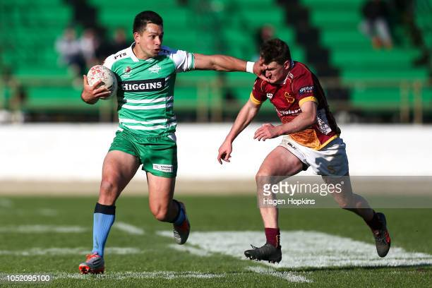 Rob Thompson of Manawatu attempts to evade Rory van Vugt of Southland during the round nine Mitre 10 Cup match between Manawatu and Southland at...