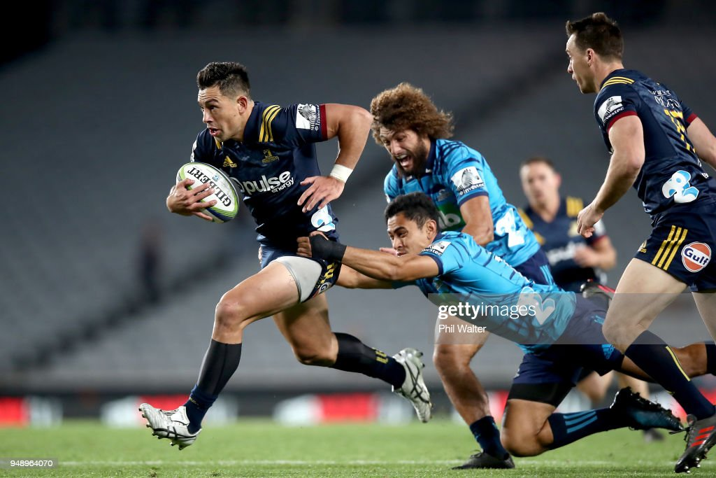 Rob Thompson of the Highlanders is tackled during the round 10 Super Rugby match between the Blues and the Highlanders at Eden Park on April 20, 2018 in Auckland, New Zealand.