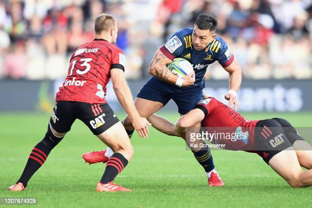 Rob Thompson of the Highlanders is tackled during the round four Super Rugby match between the Crusaders and Highlanders at Orangetheory Stadium on...