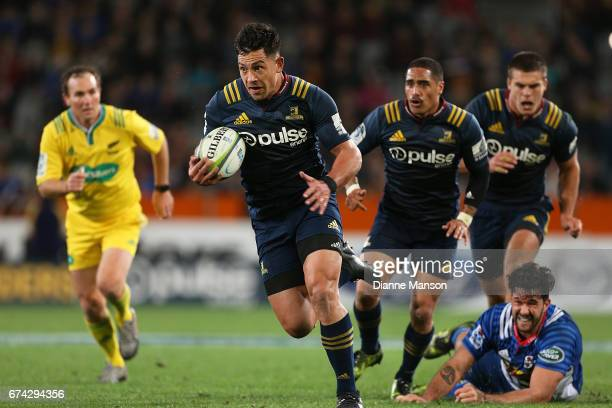 Rob Thompson of the Highlanders makes a break during the round 10 Super Rugby match between the Highlanders and the Stormers at Forsyth Barr Stadium...