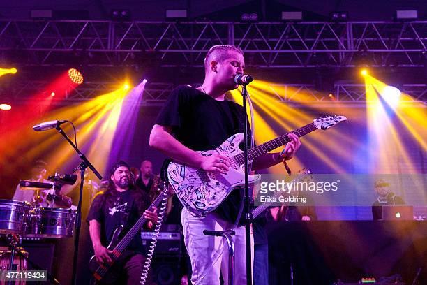 Rob Trujillo of Metallica and Jordan Kelley of CHERUB perform during the 2015 Bonnaroo Music & Arts Festival on June 13, 2015 in Manchester,...