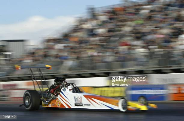 Rob Turner of Great Britain in action in his Top Methanol Dragster during the FIA European Drag Racing Finals at Santa Pod Raceway on September 6...