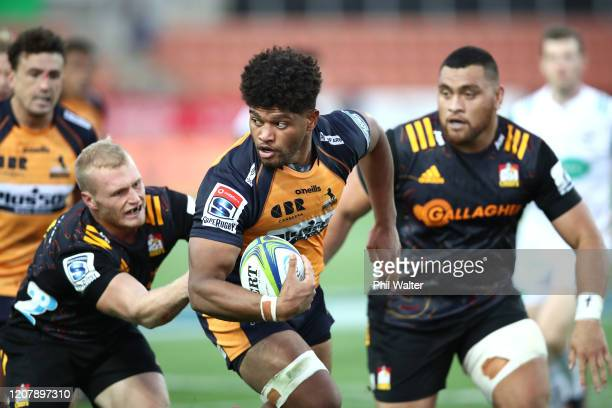 Rob Valetini of the Brumbies is tackled during the round four Super Rugby match between the Chiefs and the Brumbies at FMG Stadium on February 22,...