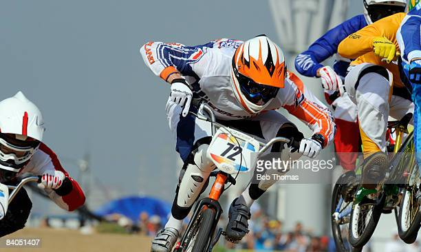 Rob van den Wildenberg of the Netherlands competes in the Men's BMX semifinals held at the Laoshan Bicycle Moto Cross Venue during Day 14 of the...