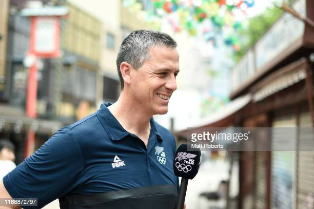 Rob Waddell is interviewed during a portait session in Asakusa area on August 19 2019 in Tokyo Japan