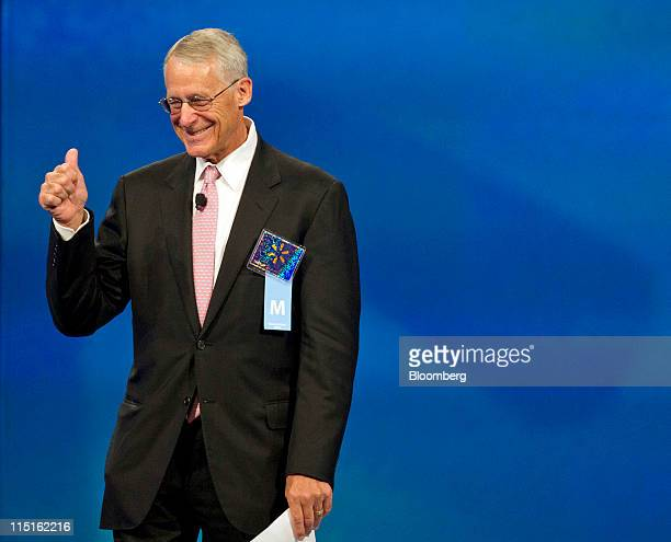 Rob Walton chairman of WalMart Stores Inc and son of founder Sam Walton appears on stage during the annual shareholder meeting in Fayetteville...