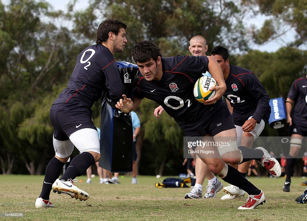 Rob Webber moves past Danny Care during a England rugby training session at McGillivray Oval on June 5, 2010 in Perth, Australia.