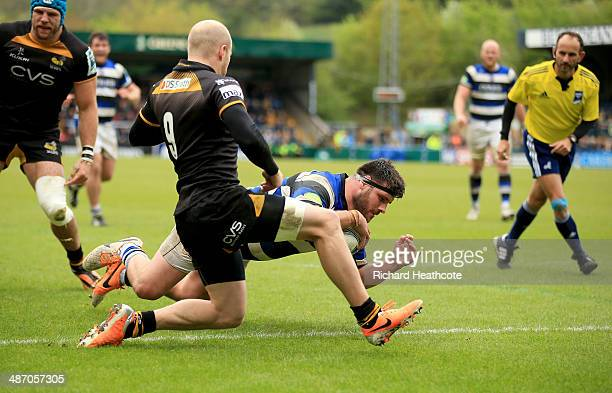 Rob Webber of Bath goes over to score a try from a poor Wasps lineout throw during the Amiln Challenge Cup SemiFinal match between London Wasps and...