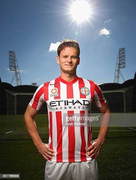 Rob Wielaert poses in the new away uniform during a Melbourne City A-League media announcement at AAMI Park on July 7, 2014 in Melbourne, Australia.