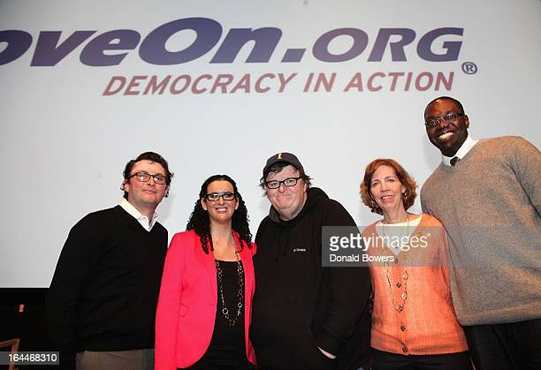 Rob Wilcox, Jaime Pessin, Michael Moore, Lori Hass and Garlin Gilchrist II attend The MoveOn.org Movie Screening And Panel On Reducing Gun Violence...