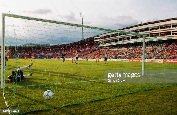 Rob Witschge of Netherlands scores a goal from a free kick during the UEFA European Championships 1992 Group 2 match between Netherlands and Germany...