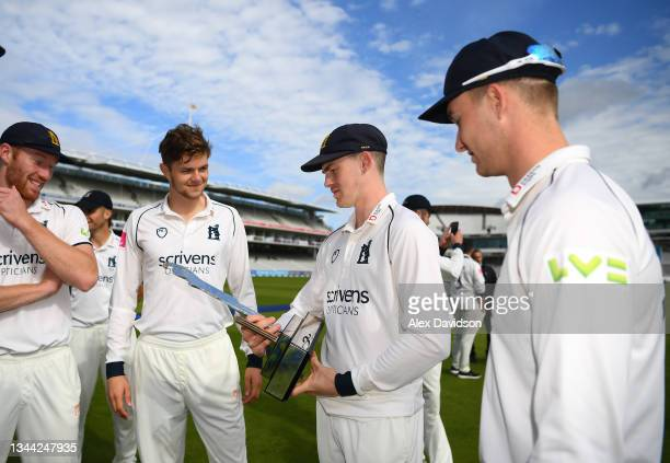 Rob Yates of Warwickshire looks at the Bob Willis Trophy after victory on Day 4 of the Bob Willis Trophy Final between Warwickshire and Lancashire at...