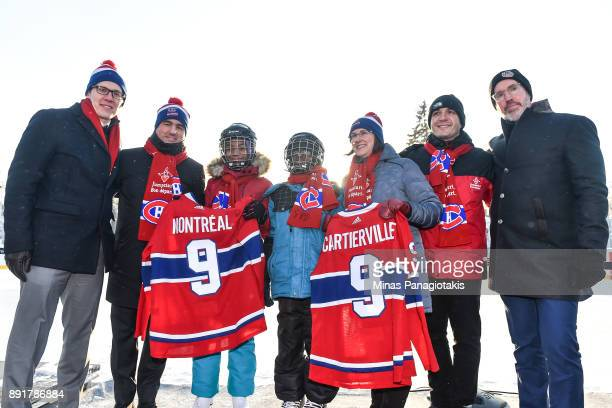 Rob Zepp of the NHLPA Owner President and CEO of the Montreal Canadiens Geoff Molson Guetty Victor Mahamat Ibrahim Mayor of AhunsticCartierville...