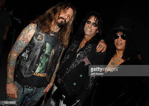 Rob Zombie Alice Cooper and Slash during the 2007 Spike TV Scream Awards at The Greek Theater on October 19 2007 in Los Angeles California