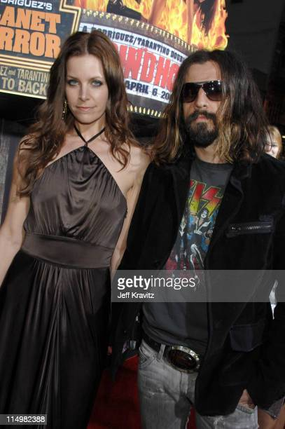 Rob Zombie and Sheri Moon during Grindhouse Los Angeles Premiere Red Carpet at Orpheum Theatre in Los Angeles California United States