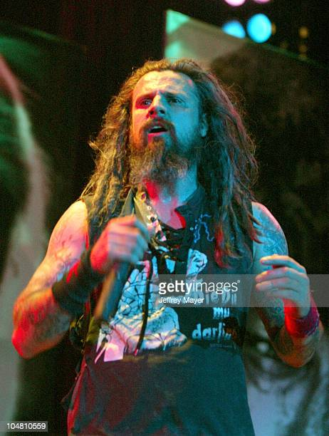 Rob Zombie performing at OzzFest 2002 during OzzFest 2002 at Glen Helen Blockbuster Pavilion at Glen Helen Blockbuster Pavilion in Devore California...