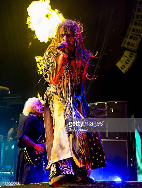 Rob Zombie performs during the Rockstar Energy Drink Mayhem Festival at the DTE Energy Music Theater on July 28 2013 in Clarkston Michigan