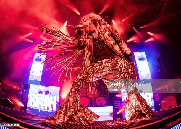 Rob Zombie performs during the Twins Of Evil The Second Coming Tour Opener at DTE Energy Music Theater on July 11 2018 in Clarkston Michigan