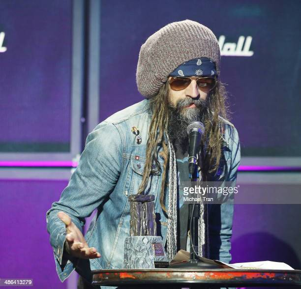 Rob Zombie speaks onstage during the 6th Annual Revolver Golden Gods Award Show held at Club Nokia on April 23 2014 in Los Angeles California