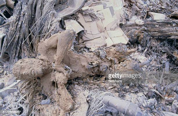 RobatE PoshtE Badam Iran Charred remains of one of the Americans killed in the abortive mission to rescue the 53 American hostages in Tehran lie amid...