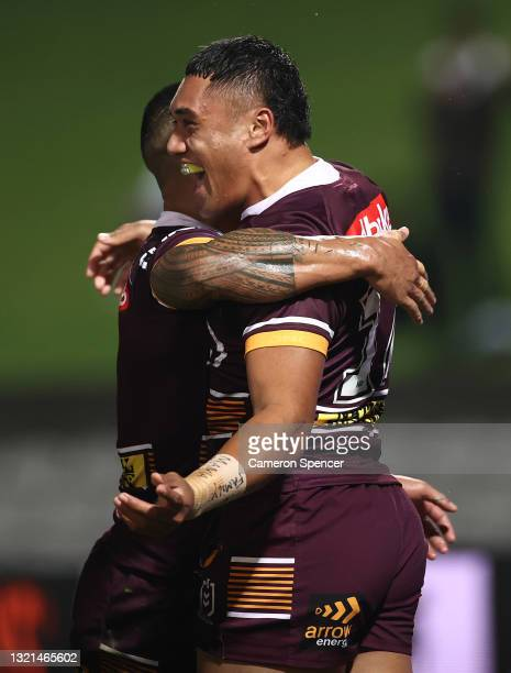 Robati of the Broncos celebrates after scoring a try during the round 13 NRL match between the St George Illawarra Dragons and the Brisbane Broncos...