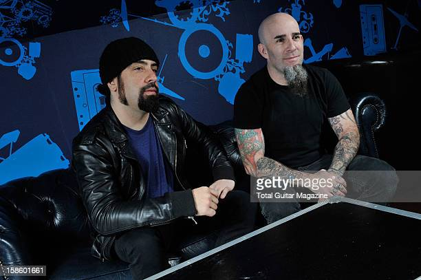 Robb Cagianno and Scott Ian of American heavy metal band Anthrax talk during an interview for Total Guitar Magazine/Future via Getty Images, March 15...