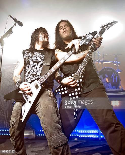 Robb Flynn and Phil Demmel of Machine Head perform at O2 Academy on February 21 2010 in Birmingham England