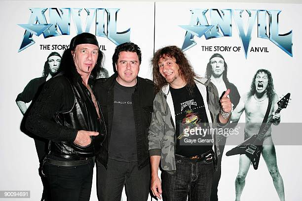 Robb Reiner Director Sacha Gervasi and Steve Kudlow 'Lips' attend the Sydney premiere of 'Anvil The Story Of Anvil' at the Greater Union Cinemas...
