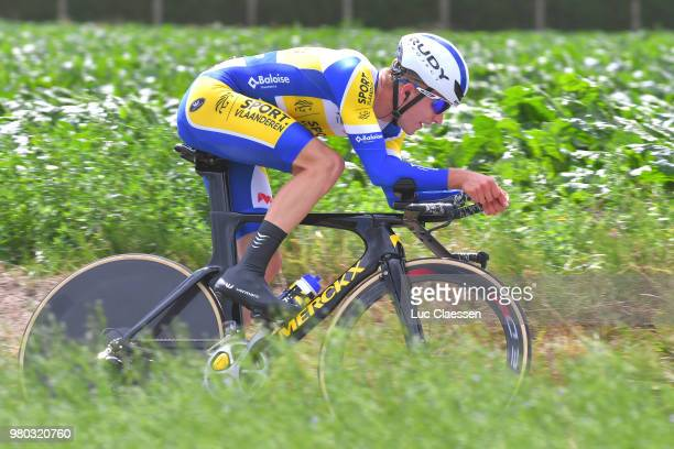 Louis Vervaeke of Belgium and Team Sunweb / during the 119th Belgian Road Championship 2018 a 432km individual time trial stage from Anzegem to...
