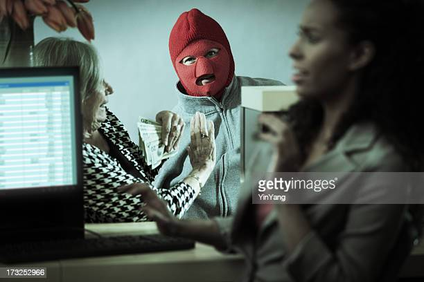 Robber with Teller and Customer in Retail Bank Window