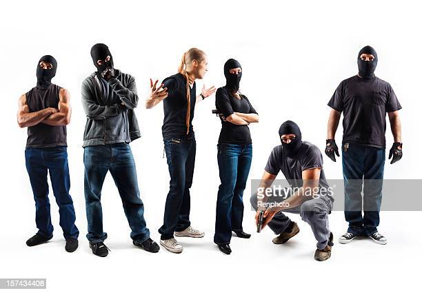 robbers isolated on white background - criminal stock pictures, royalty-free photos & images