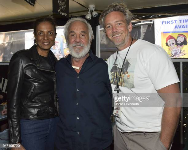 Robbi Chong Tommy Chong and Paris Chong pose for portrait at the Key to The City of West Hollywood Award Ceremony at The Roxy Theatre on April 16...
