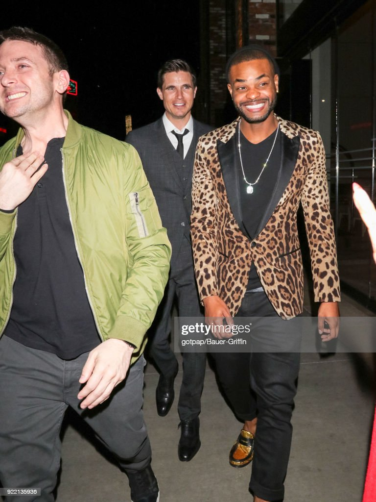 Robbie Amell and King Bach are seen on February 21, 2018 in Los Angeles, California.