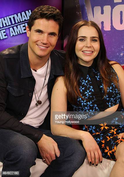 Robbie Amell and Mae Whitman at the Young Hollywood Studio on February 12 2015 in Los Angeles California