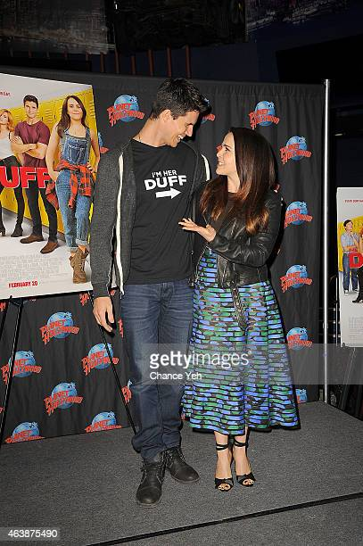 Robbie Amell and Mae Whitman attend The Cast Of 'The Duff' Visit Planet Hollywood Times Square at Planet Hollywood Times Square on February 19 2015...