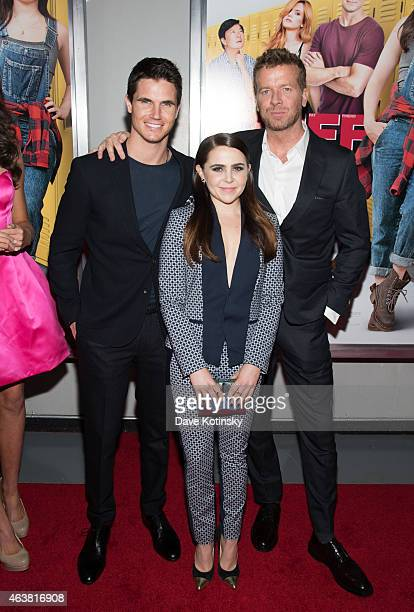 Robbie Amell McG and Mae Whitman attends the The Duff New York Premiere at AMC Loews Lincoln Square on February 18 2015 in New York City