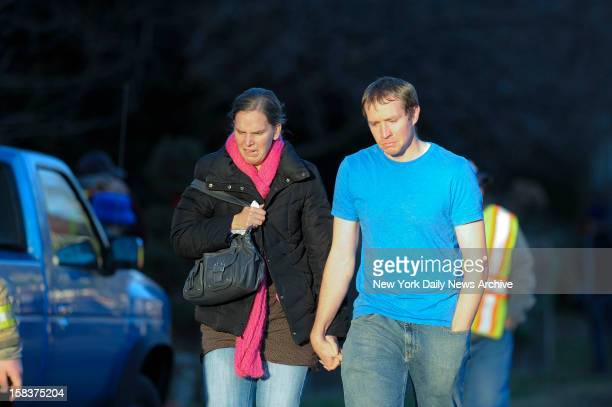 Robbie and Alyssa Parker outside firehouse at Sandy Hook Elementary School in Newtown CT The Parker's daughter Emilie was one of the 20 children...