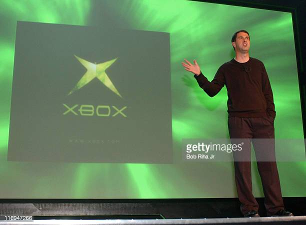 """Robbie Bach, Chief Xbox Officer for Microsoft, unveils the latest plans for Xbox including a global online gaming network - """"Xbox Live"""" - during a..."""