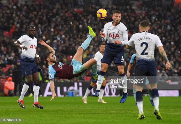 Robbie Brady of Burnley attempts a overhead kick during the Premier League match between Tottenham Hotspur and Burnley FC at Wembley Stadium on...