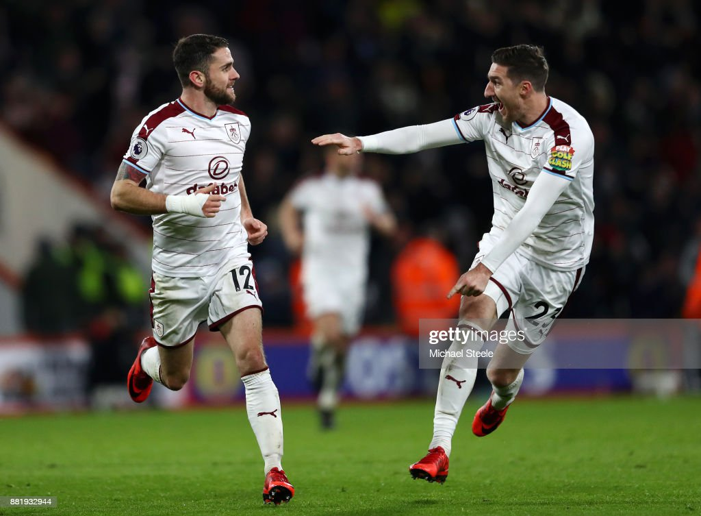 Robbie Brady of Burnley celebrates after scoring his sides second goal with Stephen Ward of Burnley during the Premier League match between AFC Bournemouth and Burnley at Vitality Stadium on November 29, 2017 in Bournemouth, England.