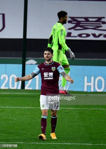 Robbie Brady of Burnley celebrates after scoring the winning penalty in the shoot out during the Carabao Cup second round match between Burnley and...