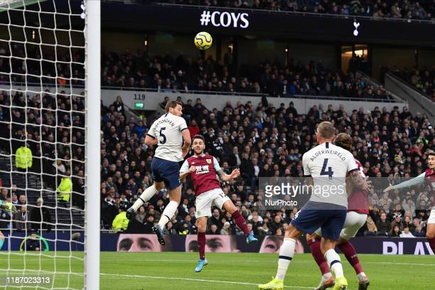 Robbie Brady of Burnley heads at goal during the Premier League match between Tottenham Hotspur and Burnley at White Hart Lane London on Saturday 7th...