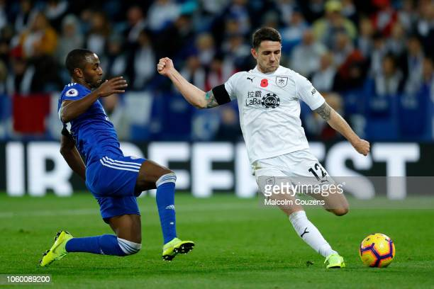 Robbie Brady of Burnley is challenged by Ricardo Pereira of Leicester City during the Premier League match between Leicester City and Burnley FC at...