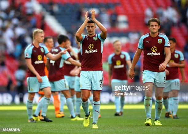 Robbie Brady of Burnley shows appreciation to the fans after the Premier League match between Tottenham Hotspur and Burnley at Wembley Stadium on...