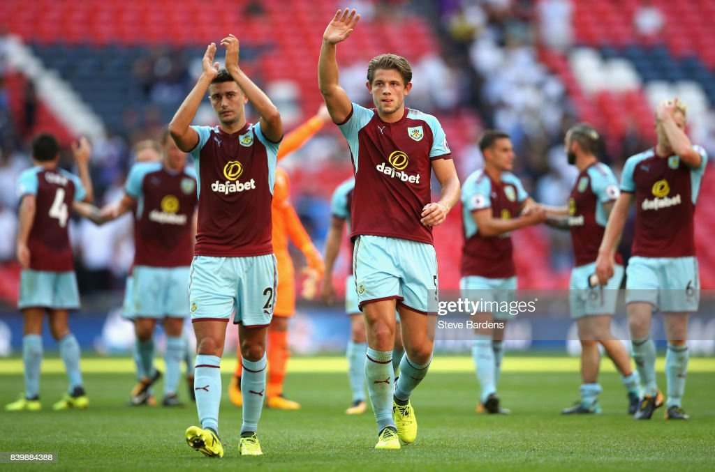 Robbie Brady of Burnley shows appreciation to the fans after the Premier League match between Tottenham Hotspur and Burnley at Wembley Stadium on August 27, 2017 in London, England.