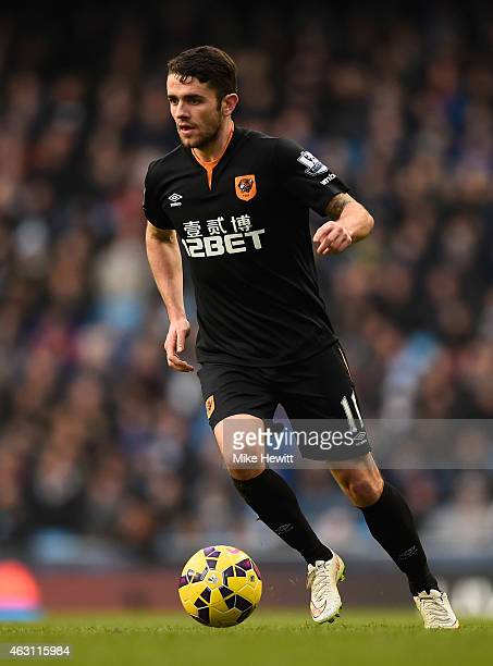Robbie Brady of Hull in action during the Barclays Premier League match between Manchester City and Hull City at Etihad Stadium on February 7 2015 in...